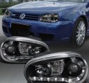 A4 Black LED DRL Style Projector Headlights for 99-05 VW Golf