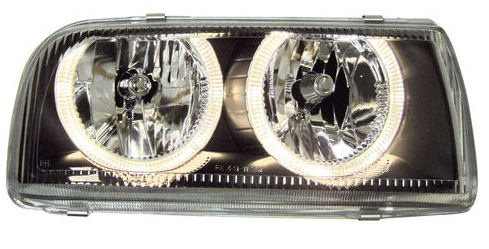 A3 Black FK Halo Headlights for VW Jetta 1993-1998
